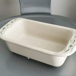 Longaberger 1pt woven traditions green loaf pan